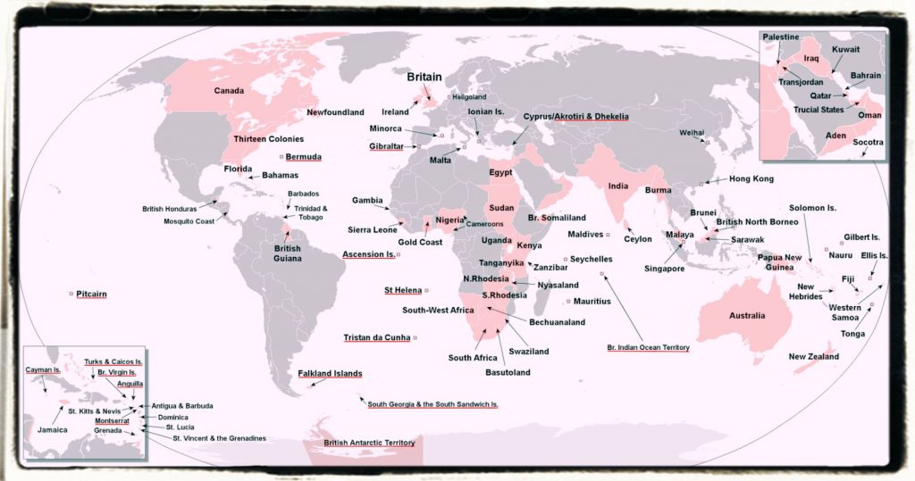 The British Empire map by English Culture Blog
