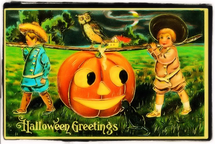 Cute Halloween Vintage Postcard