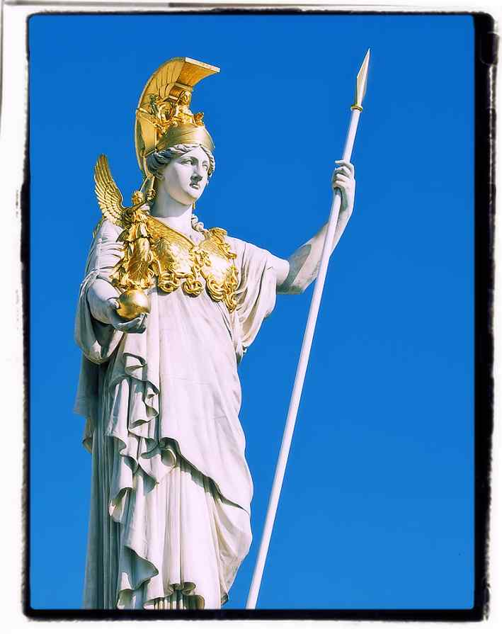 Athena Goddess of Wisdom shakes spear