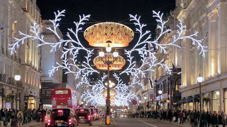 London streets Christmas lights decorations