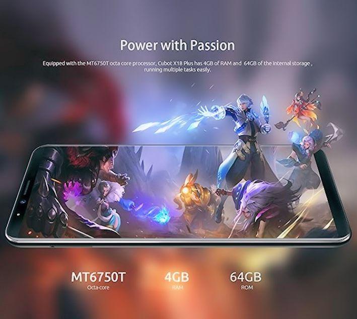CUBOT X18 Plus Smartphone, 4G Android 8.0 5.99 pollici Schermata FHD + 18: 9 MT6750T Octa-core 4GB + 64GB