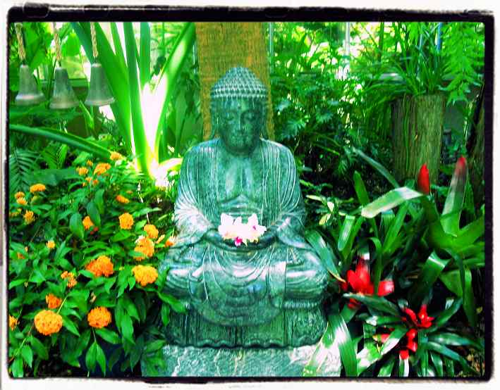 Buddha meditating in a garden