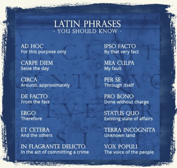 Latin phrases you should know
