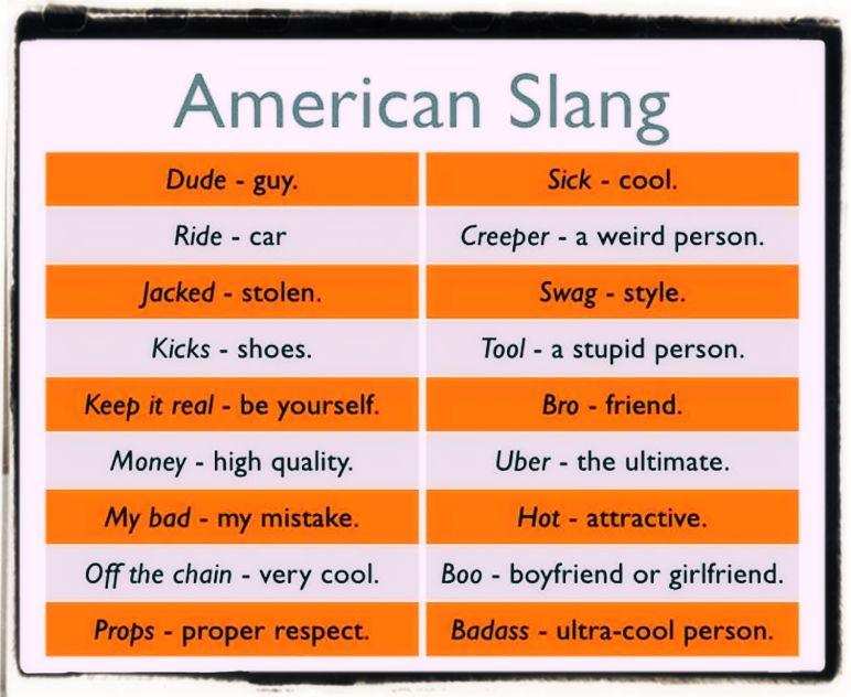 American slang words examples